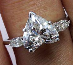 GIA Estate Vintage 2.80ct Heart Shape 3 Stone DIAMOND Engagement Wedding 14k Gold Ring