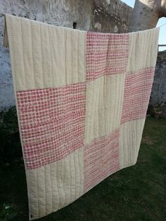 Quilt, hand woven khadi cotton, block print, hand stitch, cotton wadding. Ethically made with love and care. 2 x 2m