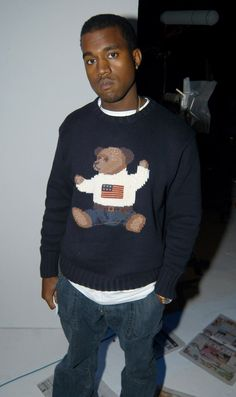 Kanye West wears a Polo Bear sweater.  23 Iconic Moments From Ralph Lauren on Yahoo Style
