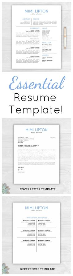 Resume for Microsoft Word - Minimal Resume Template - CV Template - microsoft word references template