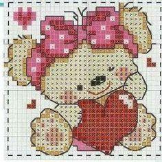 Ursinha Cross Stitch For Kids, Cross Stitch Baby, Cross Stitch Charts, Cross Stitch Designs, Cross Stitch Embroidery, Cross Stitch Patterns, Baby Chart, Cross Love, Little Stitch