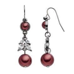 Croft & Barrow® Raspberry Beaded Linear Drop Earrings, Red
