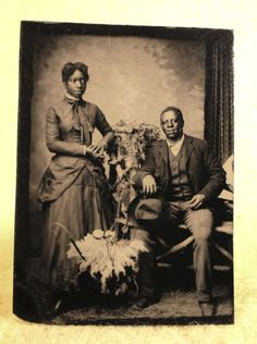 Rare-Antique-Tintype-African-American-Man-and-Woman-Portrait
