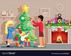 Family decorating christmas new year tree winter vector image on VectorStock