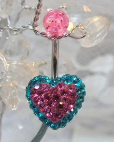 Bellybutton ring, belly ring blue zircon and pink crystal heart 14ga | YOUniqueDZigns - Jewelry on ArtFire