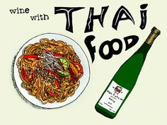 Wine Pairing with Thai Food - Pad Thai and Riesling Illustration Wine Folly Thai Recipes, Wine Recipes, Healthy Dinner Recipes, Asian Recipes, Sweet Champagne Brands, Wine Party Appetizers, Barefoot Wine, Riesling Wine, Sweet White Wine