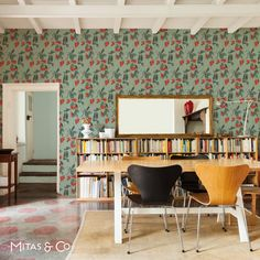 Alice Thompson's gorgeous sweet pea wallpaper in freshmint http://mitasandco.com/products/oh-sweet-pea-freshmint