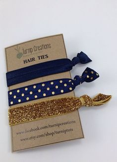 Classic Hair Tie Combo~~~Navy & Gold!  So Trendy, Stylish and Chic! These FOE Hair Ties are perfect hair accessories for pulling back your hair and