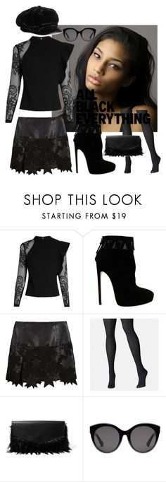 """""""Black Star"""" by rosiecathedral ❤ liked on Polyvore featuring self-portrait, Alaïa, BCBGMAXAZRIA, Avenue, Iris & Ink, Gucci and allblack"""