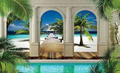 WALL MURAL PHOTO WALLPAPER XXL Tropical Beach (1524WS) | eBay Ceiling Murals, Wall Murals, Foto Poster, Photo Mural, Palmiers, Mural Art, Photo Wallpaper, Beautiful Wall, Room Themes
