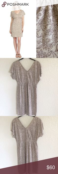 """Tommy Bahama Brown Seaside Vines Linen Twill Dress - Size tag came off but it's a Small. Elastic trim under the bust. Lightweight. V-Neck - Length 37"""" - Excellent Preowned Condition. No Trades. Tommy Bahama Dresses Midi"""