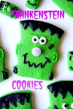 Cute Frankenstein Cookies · Edible Crafts | CraftGossip.com #Halloween #party #ideas #food #candy #trickortreat