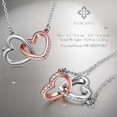 Kami Idea Necklace, My Destiny, Heart to Heart, Crystal from Swarovski, Gifts Packed Valentine Gift For Wife, Valentines Jewelry, Great Gifts For Mom, Gifts For Wife, Mom Gifts, Grandma Gifts, Swarovski Gifts, Swarovski Crystals, Silver Pendant Necklace