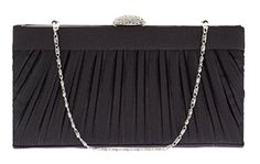 D'Margeaux NY Black Satin Evening Bag Rhinestone Clasp Box Pleated Frame Clutch -- For more information, visit image link. We are a participant in the Amazon Services LLC Associates Program, an affiliate advertising program designed to provide a means for us to earn fees by linking to Amazon.com and affiliated sites.