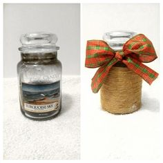 Before and After DIY Yankee candle to Christmas jar.
