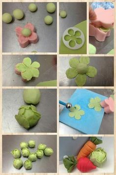 Step By Step Sugarpaste Mini Fondant Cabbage Tutorial.Fondant Cabbage Tutorial for a farm inspired cake I can't think of a single situation in which it would be necessary for us to make fondant cabbages but these were too cute not to pin. Cake Decorating Supplies, Cake Decorating Techniques, Cake Decorating Tutorials, Decorating Ideas, Fondant Flowers, Sugar Flowers, Decors Pate A Sucre, Peter Rabbit Cake, Garden Cakes