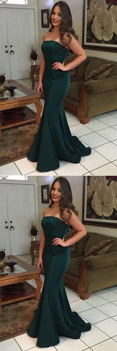 Green Mermaid Strapless Backless Simple Cheap Long Prom Dresses, M105.#Green #Promdresses #Offshoulder #Longpromdresses #Promgowns #Partydresses