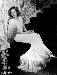loretta young in a beautiful fringed gown | 1934 | #vintage #1930s #fashion