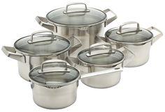 roestvrij staal, premium, pannenset, bk, kookpan, glasdeksel, 5-delig