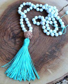 Aqua Necklace  White Beaded Necklace  Tassel by lizaslittlethings, $40.00