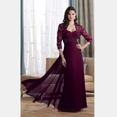 2016 Three Quaters Sleeves Lace Elegant Purple Red Long Evening Dress with  Jacket Beaded A-line Mother of the Bride Dresses 15449b7aafa9