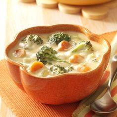 Broccoli Cheese Soup (To make your own condensed chicken broth, take regular chicken broth and simmer until you reduce the volume by half... Also, if you cannot use Velveeta due to the annatto, you can use WalMart's brand Great Value Easy Melt Cheese... No annatto and costs MUCH less...)