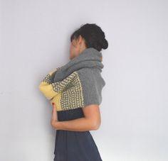 Hand Knit Hood Scarf. Oversize Grey Scarf. Warm by InoriCreations