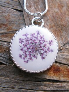 Queen Anne's Lace Resin Pendant Necklace   Real by ScrappinCop, $7.50