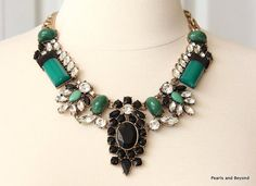 J. Crew Inspired Crystal Encrusted Collar Necklace Turquoise Green Resin Stone Bold Statement Necklace Rhinestone Bib Necklace