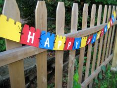 LEGO party 'Happy Birthday' paper banner by LilPunkinCreations, $16.00