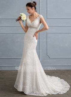 [US$ 179.59] I like a V neck... Trumpet/Mermaid V-neck Sweep Train Lace Wedding Dress With Beading