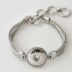 Chunk Charm snap button Bracelet,compatible w/ Noosa & Ginger snaps style chunks, adjustable size