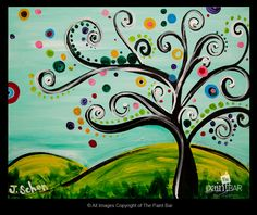 Whimsical Tree Painting - Jackie Schon, The Paint Bar Paint Bar, Wine And Canvas, Pictures To Paint, Painting Pictures, Whimsical Art, Art Plastique, Tree Art, Painting Inspiration, Diy Art