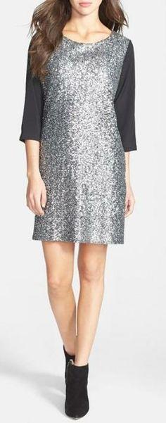 Chiffon & Sequin Shift Dress