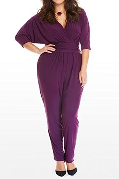 e20a599e707 Women Sexy Plus Size V Neck Wrap Batwing Sleeve Solid Color Long Jumpsuit  Romper   Learn