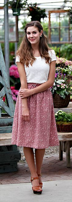 Antique Pink Floral A Line Skirt [MSS1201] - $44.99 : Mikarose Boutique, Reinventing Modesty