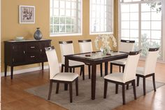Elegant dinette set and wall color! Miami Direct Furniture  - The 7pc Cassidy Dining Collection, $488.00 (http://www.miamidirectfurniture.com/the-7pc-cassidy-dining-collection/)