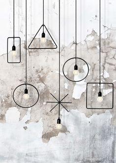 "Beijing-based Italian Architect and founder of MICROmacro Sara Bernardi designed this geometric and minimalistic pendant lamp collection named Geometry Made Easy. ""Geometry Made Easy is a collectio… Geometric Lamp, Geometric Shapes, Luminaire Design, Lamp Design, Modern Lighting, Lighting Design, Living Room Bar, Basic Geometry, Room Lamp"