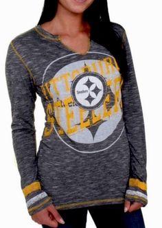 Pittsburgh Steelers Majestic XL Gametime Gal V-Neck SLIM FIT T-Shirt FITS LIKE L #Majestic #PittsburghSteelers