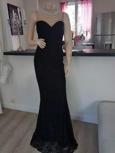 50996591753e9 Sublime robe de soirée noire effet corps de sirene taille 40 42 comme neuf