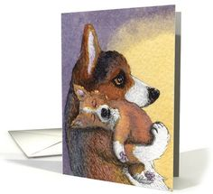 Dreaming Corgi pup and mother card (1041861) by Susan Alison