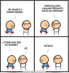 Donacion de sangre   http://frikinianos.es/donacion-de-sangre  # Cyanide and Happiness #humor #donacion #lol #funny #tiracomica