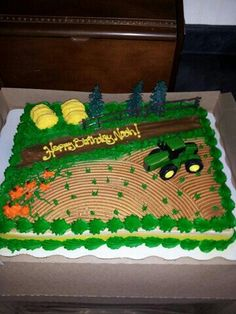 Farm cake with tractor Tractor Birthday Cakes, Farm Birthday, Boy Birthday Parties, Tractor Cakes, Farmer Birthday Cake, Birthday Ideas, John Deere Party, Farm Cake, Different Cakes