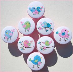 Kids Dresser Knobs - Drawer Knobs - Chickadee Birds - Drawer Pulls - Dresser Knobs with Metal Insert on Etsy, $5.00