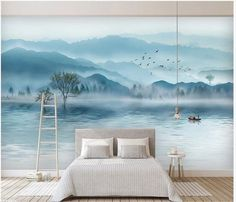 High Fashion Decorations Wall paper Luxury Atmosphere Mood Ink Landscape New Chinese TV Sofa Background Wall Murals Wallpaper Store, Cheap Wallpaper, Custom Wallpaper, Photo Wallpaper, Wall Wallpaper, Landscape Photos, Landscape Paintings, Beach Paintings, Open Wall