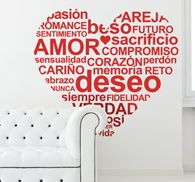 Decoratve sticker with the shape of a heart filled with lovely words! Inspire yourself for more romantic decoration ideas!
