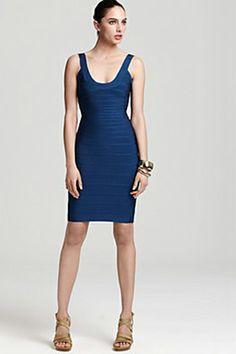 Herve Leger Scoop-Neck Essential Tank Blue Dress   $330.00