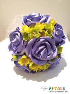 Items similar to Satin Ribbon Rose Wedding Bouquet in Lilac/Purple with wild yellow/green silk flowers, Handmade Satin on Etsy Satin Ribbon Roses, Ribbon Bouquet, Purple Ribbon, Silk Flowers, Rose Wedding Bouquet, Rose Bouquet, Green Silk, Lilac, Yellow