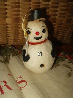 Vintage 1950's Spun Cotton Snowman Candy Container Painted Cardboard Features Japan - The Gatherings Antique Vintage