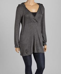 ~~pinned from site directly~~ . . . Loving this Charcoal Hooded Empire-Waist Tunic - Plus on #zulily! #zulilyfinds